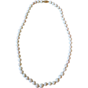 White Coral Bead Necklace with 14k Gold Clasp