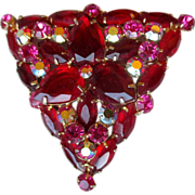 Vintage Juliana Large Red Triangular Brooch / Pin