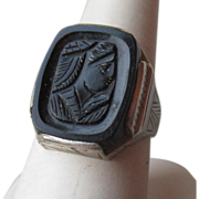 "10k Gold Art Deco ""Belais"" Intaglio Ring"