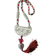 Carved Celedon Jade Pendant and Bead Necklace