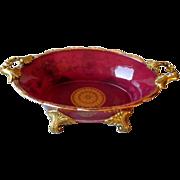 Stunning Brass Mounted Cranberry Glass Center Bowl
