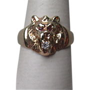 14k Gold Lion Face Ring with Ruby Eyes