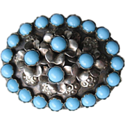 Vintage Silver and Turquiose Bead Pin / Brooch