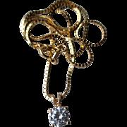 14k Gold and Aquamarine Pendant Necklace