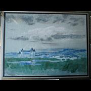 "Original ""Arthur B. Davies (1862-1928)"" Watercolor Painting - Chateau"