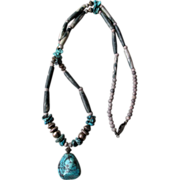 Great Southwest Turquoise Nugget  Necklace