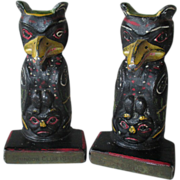 Rare Vintage Cast Iron Totem Pole Bookends