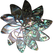 Vintage Taxco Sterling and Abalone Flower Pin / Pendant