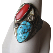 Great Silver and Turquoise with Coral Ring