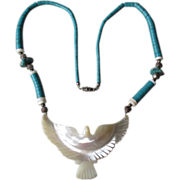 Mother of Pearl Bird Necklace with Turquoise Beads
