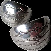 Beautiful Navajo Stamped Sterling Silver Earrings