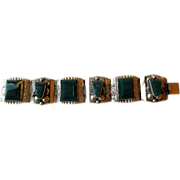 Mexican Sterling Link Bracelet with Mexican Jade Mayan Heads