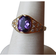 Beautiful 14k Gold and Amethyst and Diamond Ring