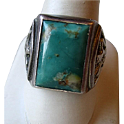 SOLD Great Man's Sterling and Turquoise Native Ring