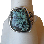 Large Size Men's Sterling Silver and Turquoise Ring
