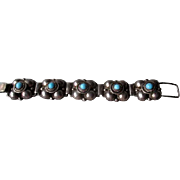 Fabulous Mexican Silver and Turquoise Link Style Bracelet