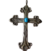 Fabulous Stamped Silver and Turquoise Cross Pendant