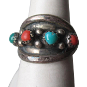 Wonderful Silver and Turquoise with Coral Ring