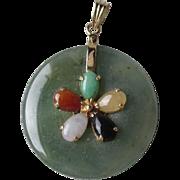 Beautiful 14k Gold and Multi-Colored Jade Pendant