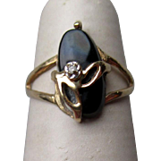 Gorgeous 10k Gold and Black Onyx Ring with Diamond Accent