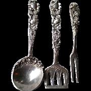 Three Piece German 800 Silver Ornate Serving Set