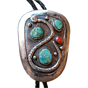 """Amazing Heavy Silver and Turquoise """"Snake"""" Bolo Tie"""