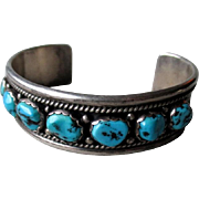 SOLD Signed Sterling Silver and Turquoise Nugget Cuff Bracelet