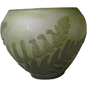 "Small ""Galle"" Cameo Glass Vase with Fern Pattern"