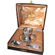 Orfevrerie Gallia Silver Plate Egg Cup with Spoon in Presentation Box