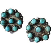 Fabulous Vintage Snake Eye Turquoise Earrings