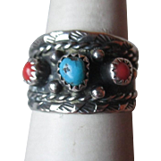 Fabulous Signed Silver with Turquoise and Coral Ring