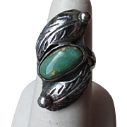 Great Unmarked Silver and Turquoise with Leaf Ring