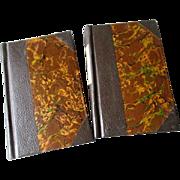 "1854 Two Volume ""Poems of Elizabeth Barrett Browning"" - 3/4 Leather Binding"