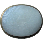 SOLD Chinese Celedon Glass and Brass Buckle