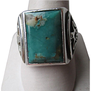 Stuning Sterling Silver and Turquoise Men's Ring