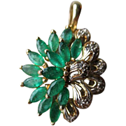 Beautiful 14k Gold Emerald and Diamond Pearl Enhancer / Pendant