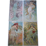 "Rare Set 1896 ""Alphonse Mucha (1860-1939)"" Four Seasons Lithographs on Silk"