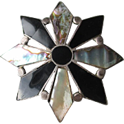Beautiful Vintage Taxco Eight Pointed Star Pin / Pendant - Black Onyx & Abalone
