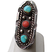 Wonderful Native American Silver and Turquoise with Coral Ring