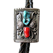 Signed Silver with Turquoise and Coral Bolo Tie