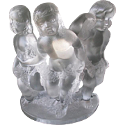 "Gorgeous Lalique Crystal ""Three Cherub"" Figurine"