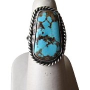 Fabulous Unmarked Silver and Turquoise Ring