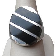 Fabulous Mens Taxco, Mexico Sterling and Black Onyx Ring