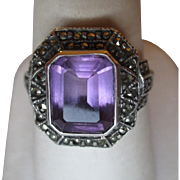 Gorgeous Sterling Silver and Amethyst with Marcasite Ring