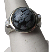 Great Sterling Silver and Snowflake Obsidian Ring