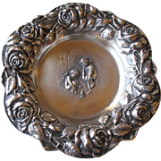 Gorgeous Stelring Silver Dish with Angels and Roses
