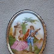 "Wonderful Early 1900's Limoges ""Courting Scene"" Brooch w/ Sterling Frame"