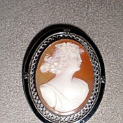 Beautiful Early 1900's Cameo w/ Enamel Frame
