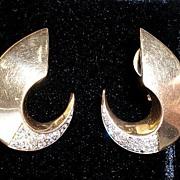 Gorgeous Pair 14k Gold Diamond Crescent Earrings