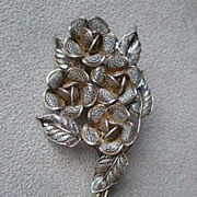 Beautiful Vintage 800 Silver Filigree Flower Pin / Brooch